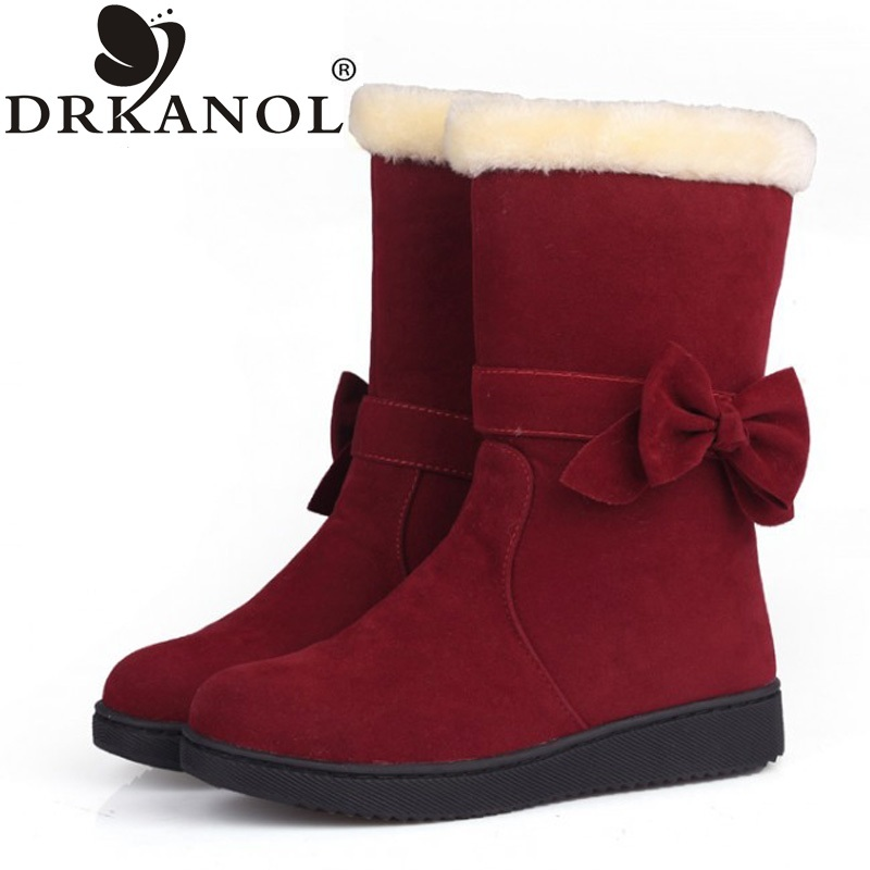 2017 new arrival women snow boots solid bowtie slip on flat mid-calf winter warm women boots female cotton-padded shoes 2017 new arrival hot sale women boots solid bowtie slip on soft cute women snow boots round toe flat with winter shoes wsz31