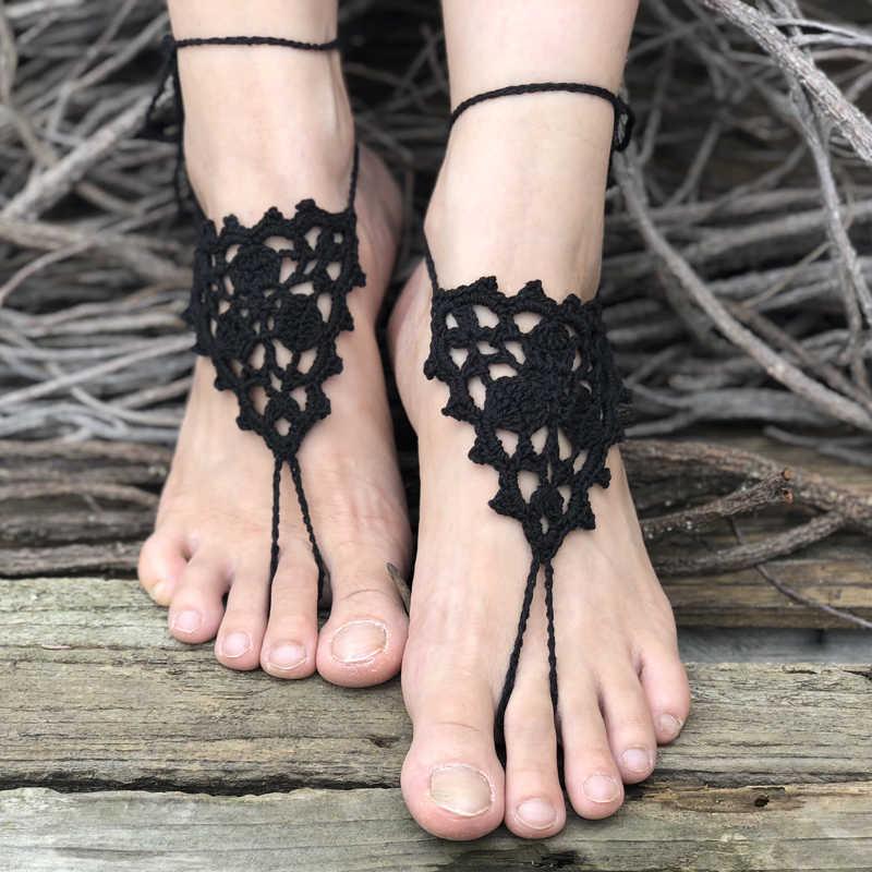 Szydełkowe sandały Barefoot plaża basen nosić pierścień na palec u stopy Anklet nagie buty biżuteria na stopy wiktoriańska koronka buty do jogi dla nowożeńców Anklet