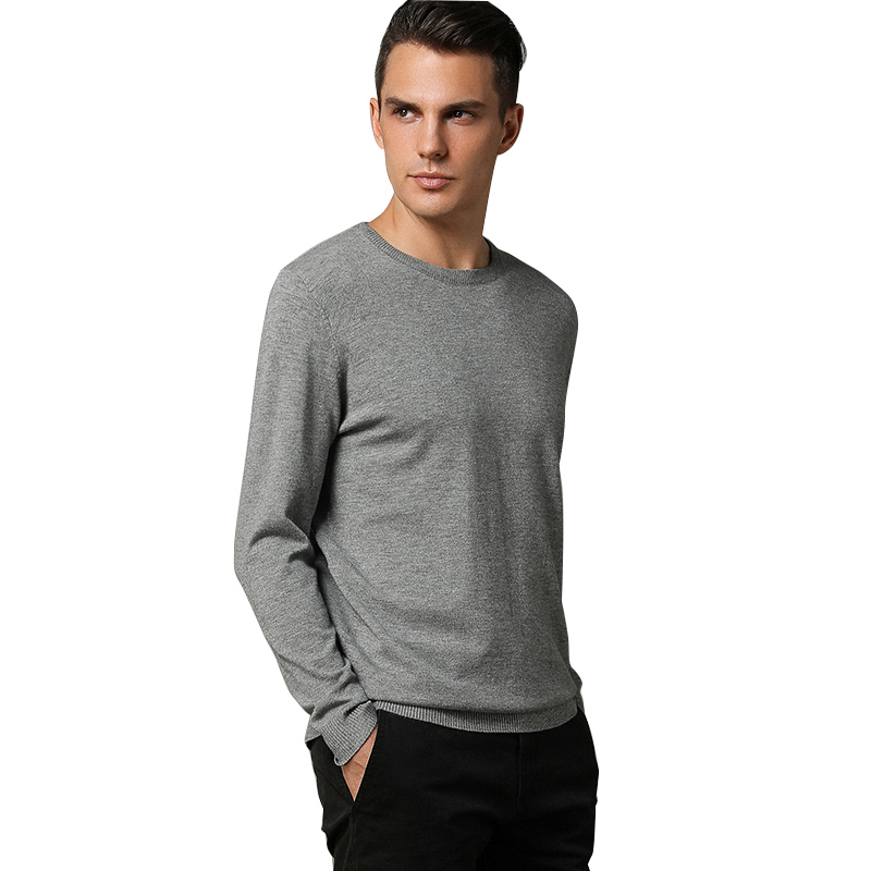 US $27.29 30% OFF|Mens Sweaters 2018 Cashmere Solid Pullover Round Neck Long Sleeve Shirt Men's Sweaters Woolen Knitwear Pull Homme Soft Jumpers in
