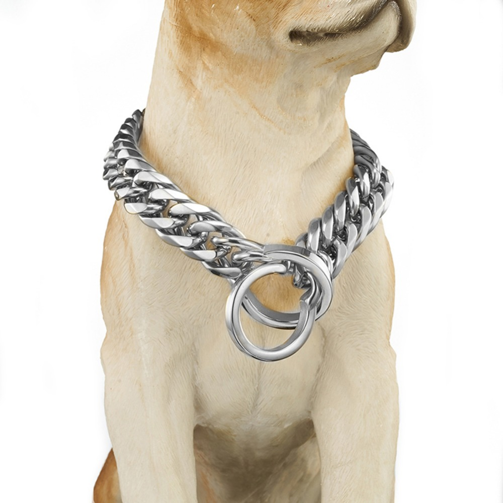 Collier de sécurité pour chien collier Anti-perte collier de formation à la marche collier de harnais pour chiens argent acier inoxydable 18mm 18-28