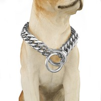 Dog Pet Collar Safety Anti lost Chain Necklace Walking Training Leash Dogs Harness Collar Silver Stainless Steel 18mm 18 28 New