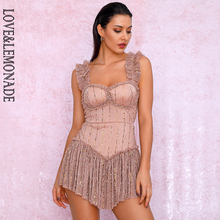 LIEBE & LIMONADE Nude Rohr Top Sling Verbindung Pailletten Material Slinky Gekräuselte Party Overall LM81256A