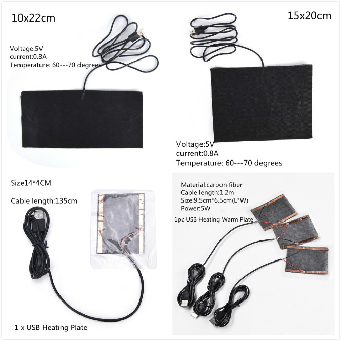 USB Charged Warm Paste Pads Waterproof Carbon Fiber Heating Pad Safe Portable Heating Warmer Pad For Shoes Gloves Pad Supplies