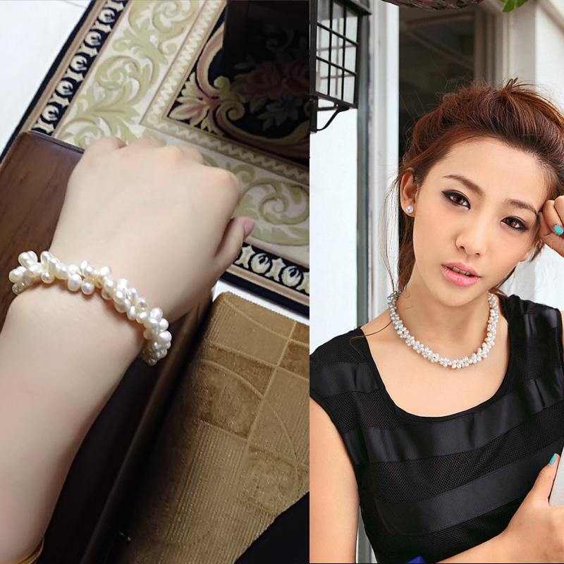 Freshwater pearl necklace jewelry sets for women fashion real pearl necklace bracelet jewelry sets drop shipping fine gift in Jewelry Sets from Jewelry Accessories