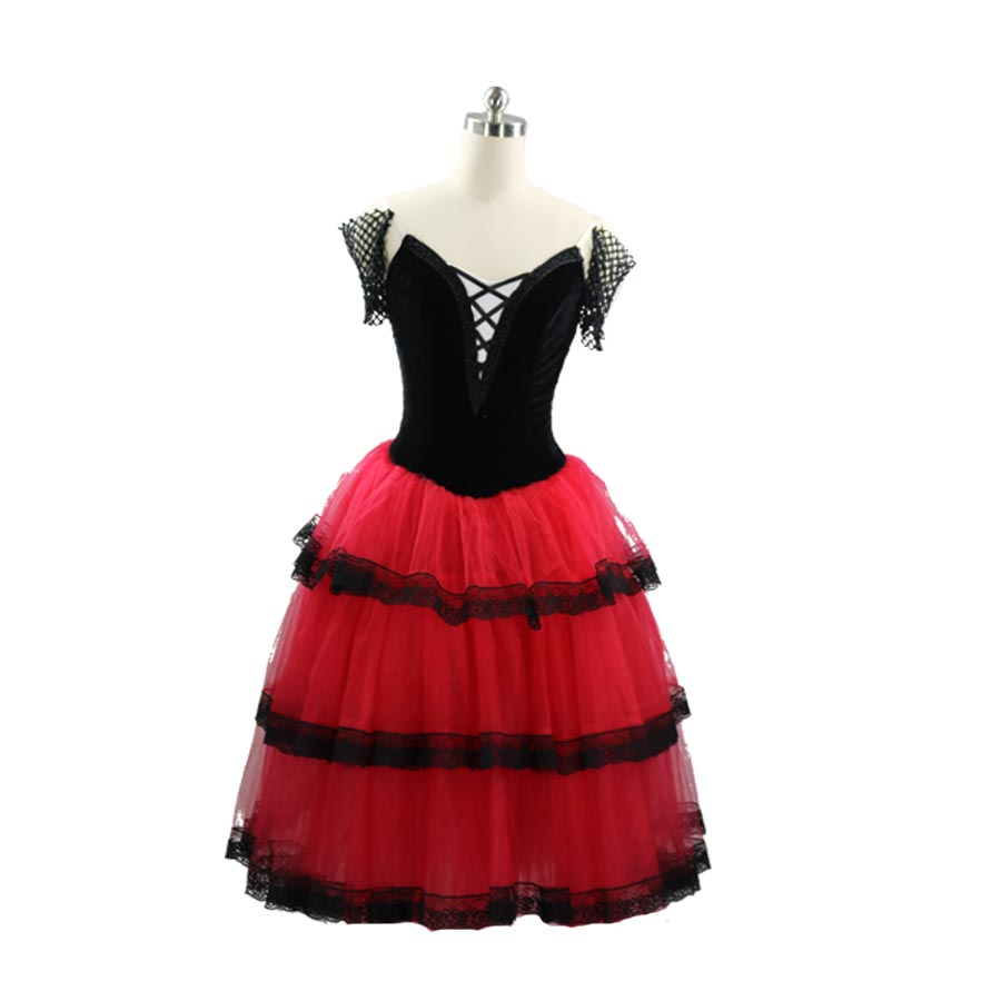 Adult Black red Spanish dress Girls Dancing Long Romantic Ballet Tutu Performance Costumes royal blue Dress for women