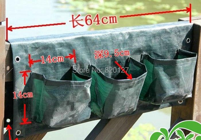 1 peça 6 bolso parede plantador de crescer, Vertical de plantio de jardinagem, Pendurado plantas de