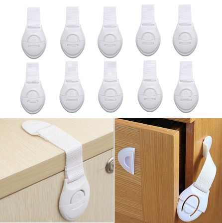 10pcs/lot Baby Safety Locks Cabinet Door Drawers Refrigerator Toilet Lengthened Locks Plastic Children Safety Protection Straps