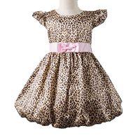 Hot Sale Girls Leopard Dress With Pink Belt Dresse Kids Dresses Girl Clothes Fashion 2013 Summer