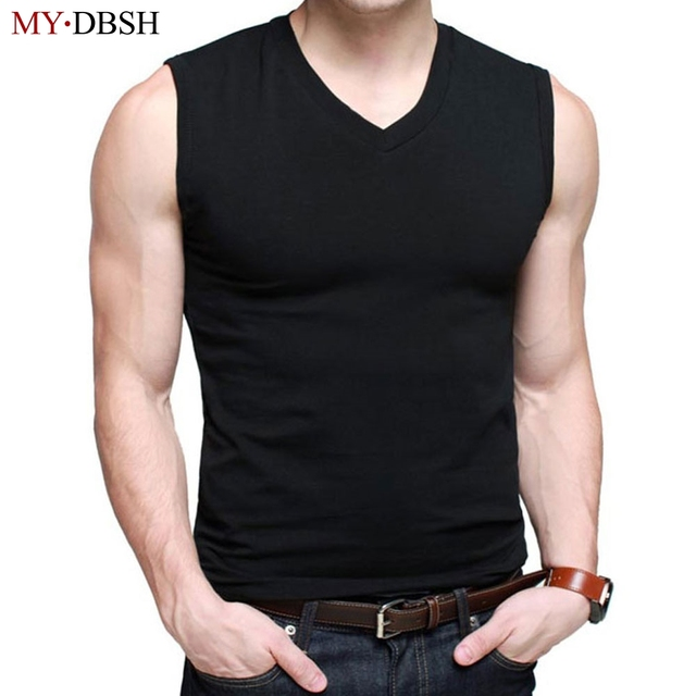 872dc0e42f1 Mens elastic cotton Slim Fit Sleeveless T-Shirts V-Neck Summer Fashion  Breathable Wicking