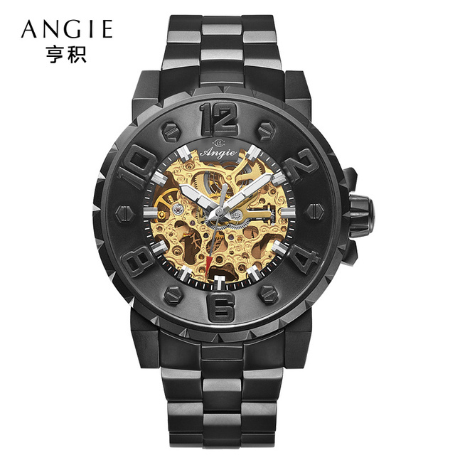 f1ffa9ca022 Angie Luxury Brand Big Dial Automatic Mechanical Watch Men Casual Sport 3D  Hollow Skeleton Watch Relogio Masculino Reloj Hombre