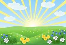 Laeacco Cartoon Grassland Flowers Clouds Sunrise Baby Photography Backgrounds Customized Photographic Backdrops For Photo Studio