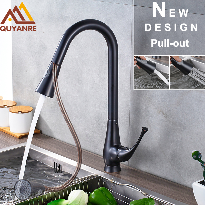 Black Painted Faucet Brass Pull Out Kitchen Faucet Kitchen Two Function Out water Spout Sprayer Black