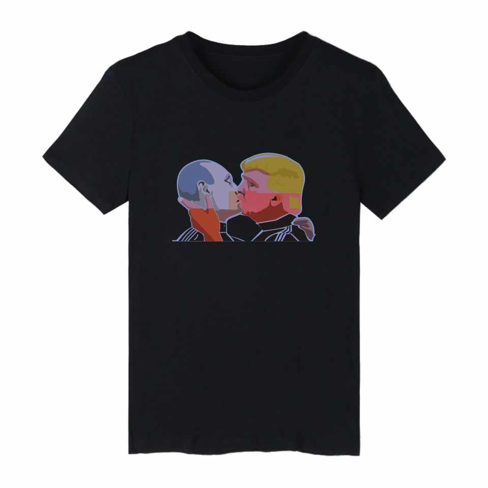 Donald Trump dan Putin T-shirt Musim Panas Lengan Pendek Kaos dan Lucu Tshirt Pria Merek Mewah Tee Kemeja panjang