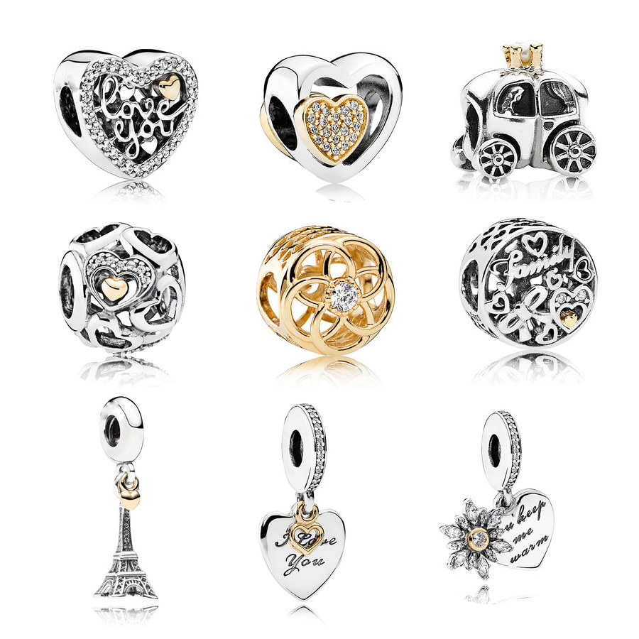 Neastamor High quality really gold Bead Charm European round Heart charm Bead Fit Women Pandora Bracelet & Bangle DIY Jewelry пандора браслет с шармами