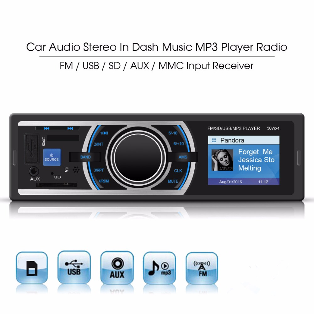 buy mp3 car radio player color lcd display in dash music player fm radio usb. Black Bedroom Furniture Sets. Home Design Ideas