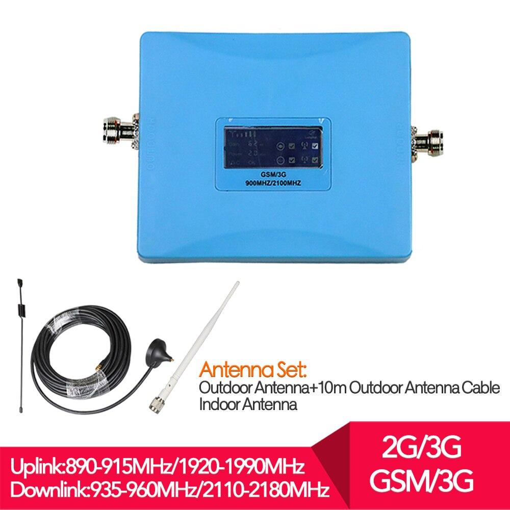 Pantalla LCD conjunto completo W-CDMA UMTS 2100 MHz GSM 900 MHz de banda Dual repetidor de señal de teléfono celular 2G 3g de antena para teléfono móvil