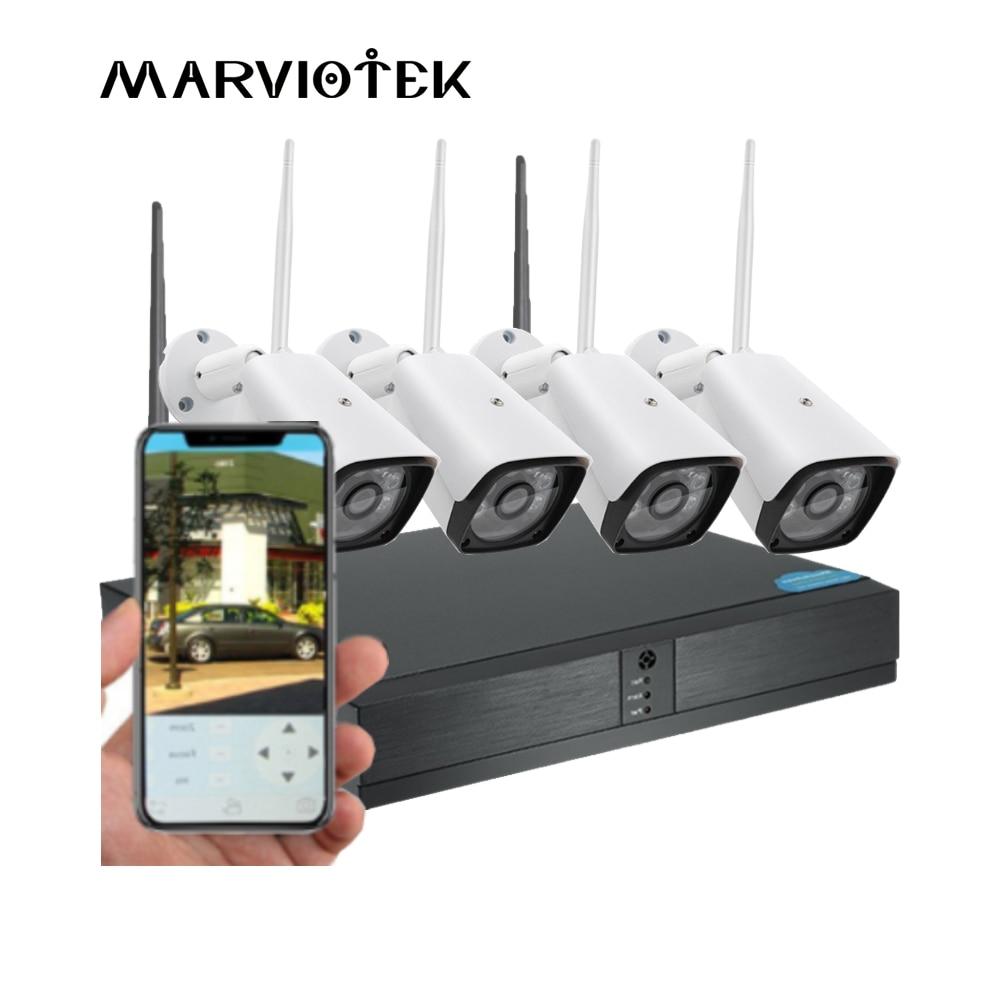 Plug and Play 4CH IP caméra WiFi NVR kit système de caméra de vidéosurveillance Vision nocturne extérieure WIFI caméra ensemble Kit de Surveillance vidéo sans fil