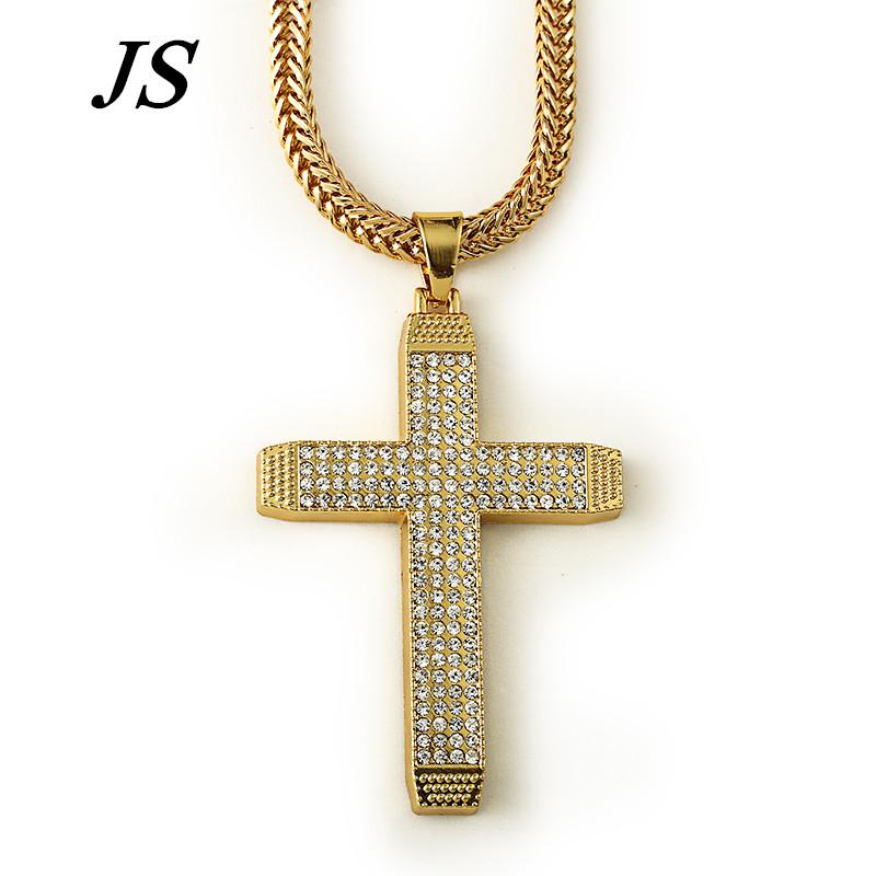 Online get cheap 24k gold cross with jesus aliexpress alibaba js 2016 new fashion 24k gold plated solid jesus cross pendant necklace cuban chain hiphop large golden cross jewelry hn015 aloadofball Images