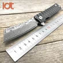 LDT Twosun Razor Folding Knife Tanto Damascus Blade Steel Handle Butcher Knives Flipper Camping Survival Hunting Knife EDC Tools