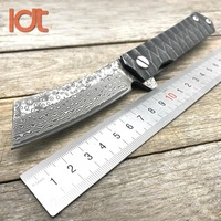 LDT Twosun Razor Folding Knife Tanto Damascus Blade Steel Handle Butcher Knives Flipper Camping Survival Hunting Knife EDC Tools