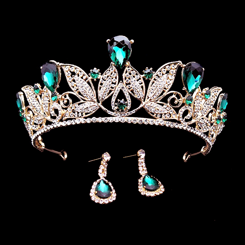 1 Set Green Crystal Bridal Tiaras Headband Queen Vintage Diadem Pageant Baroque Rhinestone Wedding Crowns Bride Hair Accessories