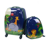 Cartoon Multi directional Wheels Suitcases Set Rolling Kids Luggage Durable ABS Material Students High Capacity Travel Set