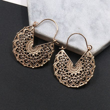 Golden Hollow Dangle Drop Earrings Women exaggerated engraving flower design female wedding Engagement Hanging Jewelry