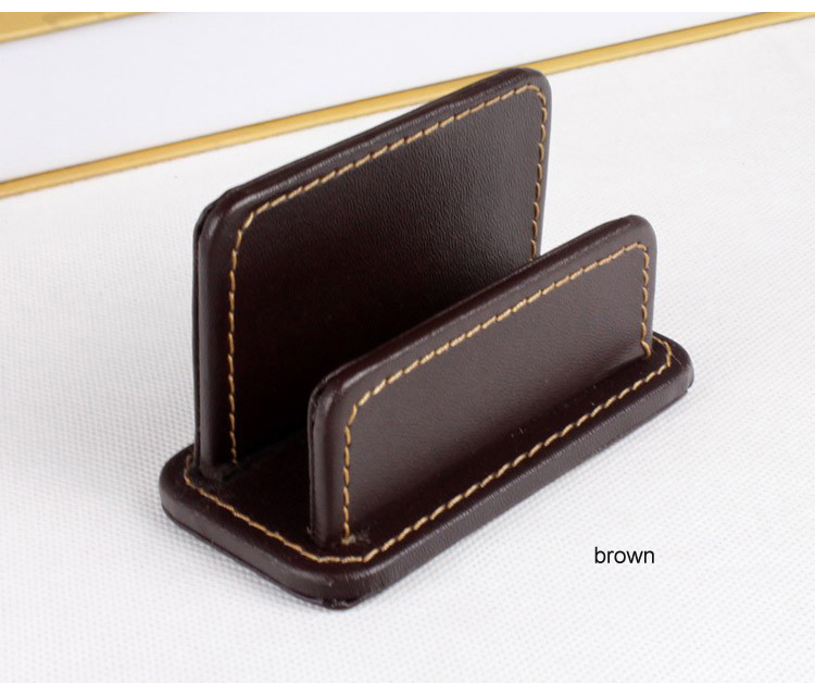 horizontal casual name card note holder case box organizer office desk stationery organization borwn 300B ...