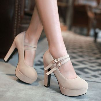 Beige stiletto high heel