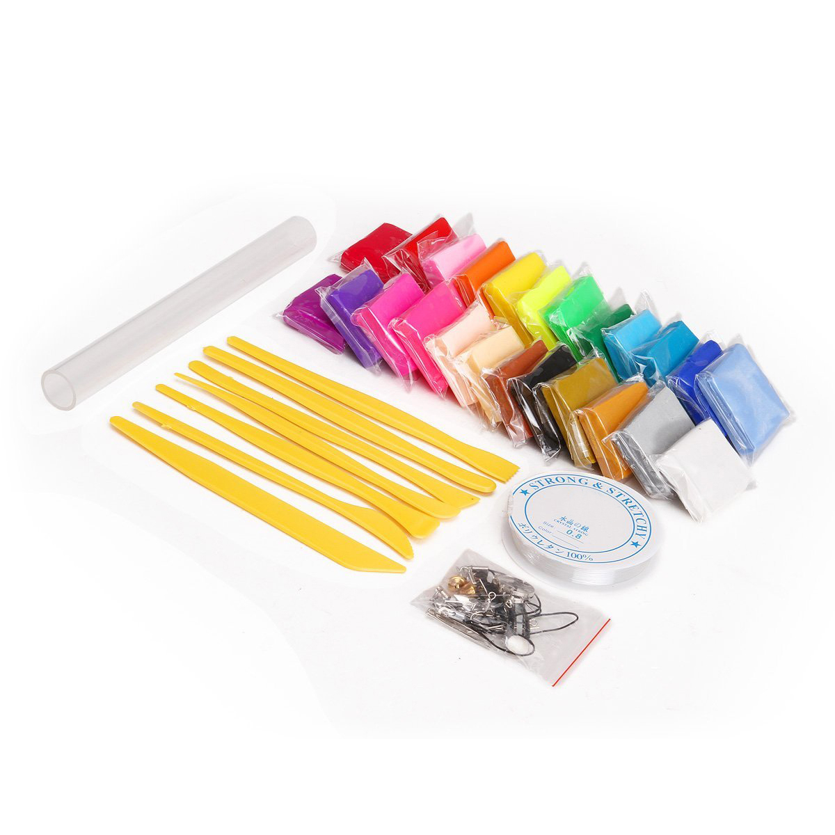 24 colors + Pate polymer modeling tools + accessories + crystal yarn + roll