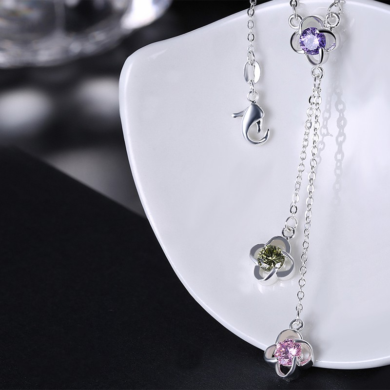 JEXXI Romantic Colors Crystal Flower Pendant Tassel Design Silver Color Link Chain for Women Gils Necklace Jewelry