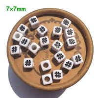 Cuentas # gran agujero especial 50 piezas acrílico blanco # símbolo cubo números cuentas 7mm hallazgos cuentas para DIY joyería encontrar