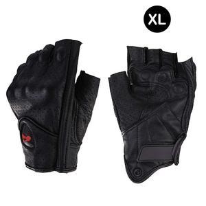 Image 2 - Motorcycle Gloves Leather Summer Breathable Half Finger Gloves Unisex Mitt Fingerless Glove For Men Women Scooter Moto Mitten