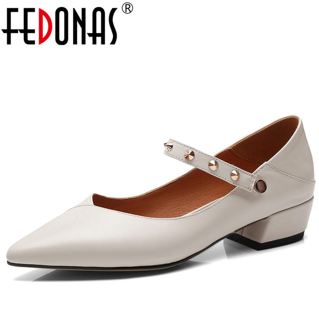 FEDONAS moda remaches hebilla Sexy bombas mujer elegante tacones altos  punta toe partido zapatos de boda b20406b5457b