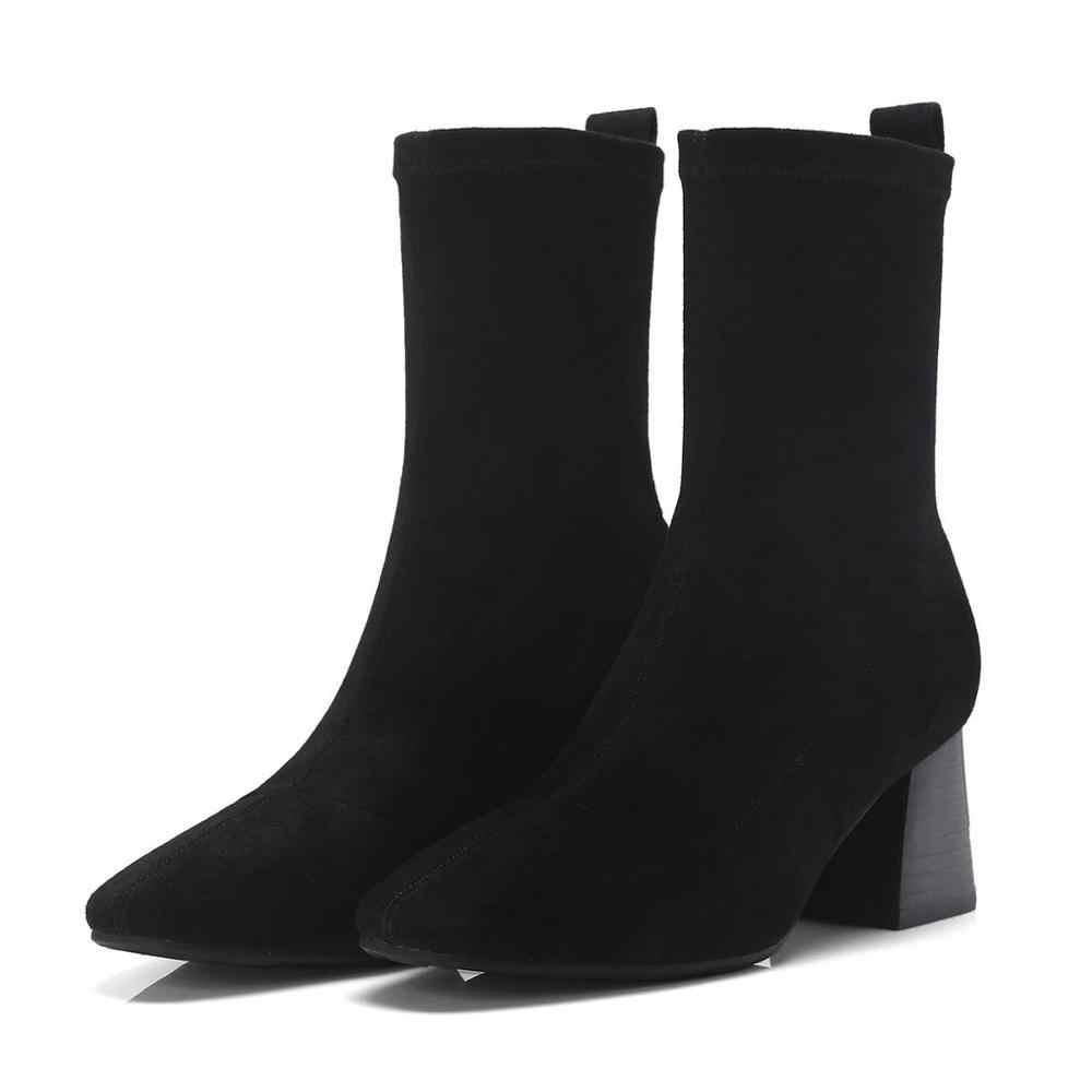 2020 kare ayak yüksek topuklar üzerinde kayma kadın yarım çizmeler muhtasar pist streç moda çizmeler ofis bayan zarif kış ayakkabı L13