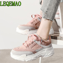 New Spring Sneakers Women Platform Flats Lace Up Round Toe Solid Creepers Female Casual Fashion Comfort Shoes
