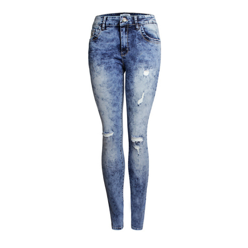Women's Skinny Elastic Tie Dye Distressed Hole Ripped Rivet Denim Jeans Pencil Pants 2016 hole jeans free shipping woman distressed true denim skinny jean pencil pants trousers ripped jeans for women 031