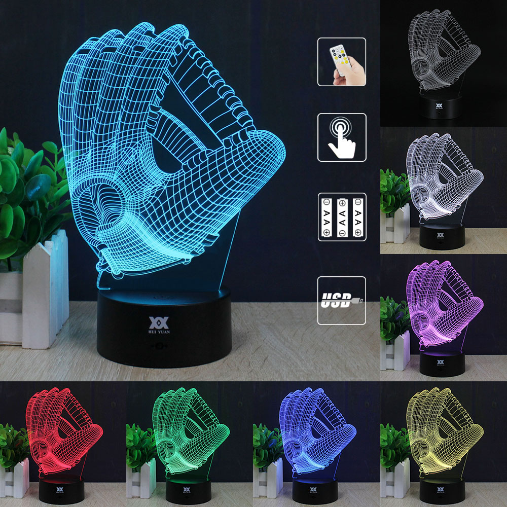 Baseball glove 3d lamp remote control night light led decorative baseball glove 3d lamp remote control night light led decorative table lamp usb 7 colors changing childs gift hui yuan brand in night lights from lights geotapseo Image collections