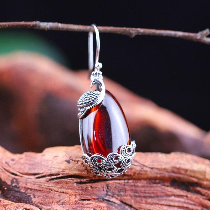 Réel 925 Sterling boucles d'oreilles en argent Naturel Grenat Pierre Ethnique Pendantes Paon boucles d'oreilles pour femmes Dames Joaillerie