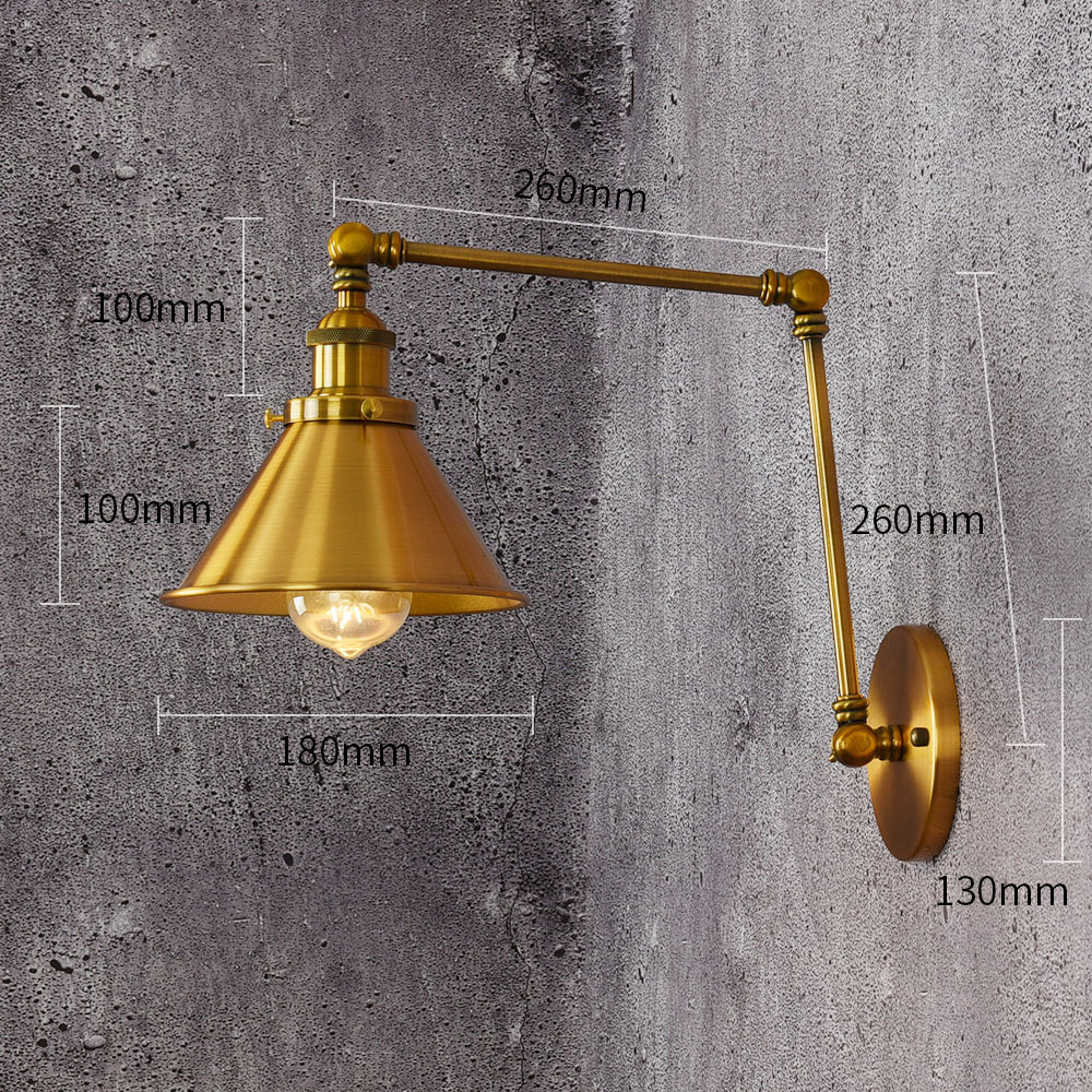 110V/220V Loft Style vintage E27Wall Sconce Swing Arm Bedside Lamp Modern Brass Bronze plated Wall Light Fixtures Iron lampshade