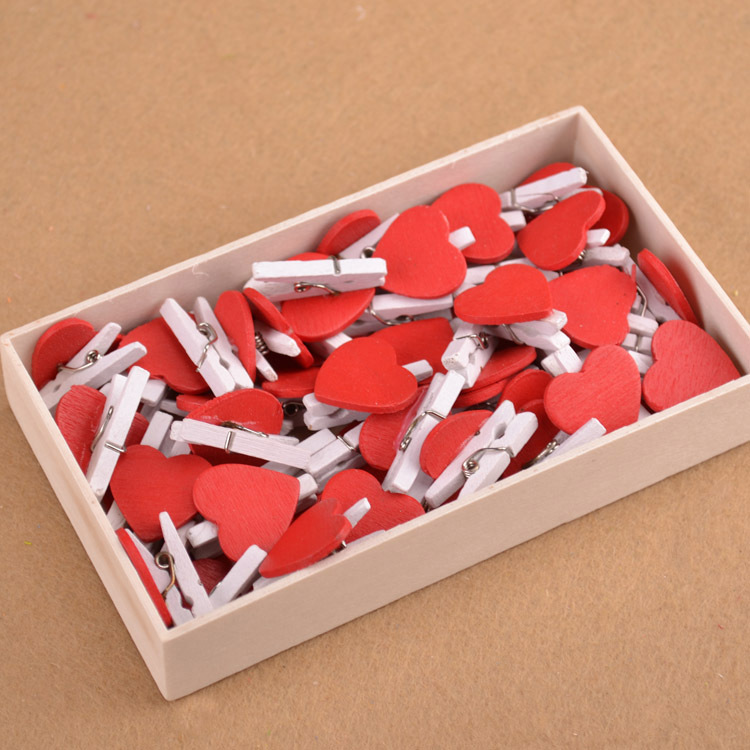 20PCS New Office Accessories Cute Mini Red Lover Heart Shaped Wooden Clips Memo Clip Wholesale Price
