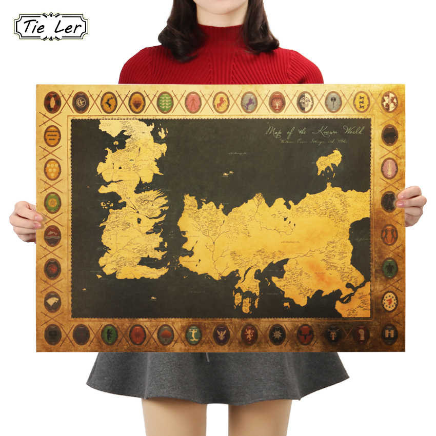 TIE LER Game of Thrones Mappa Vintage Kraft Paper Poster Bar Interno Cafe Pittura Decorativa Wall Sticker 70X51cm