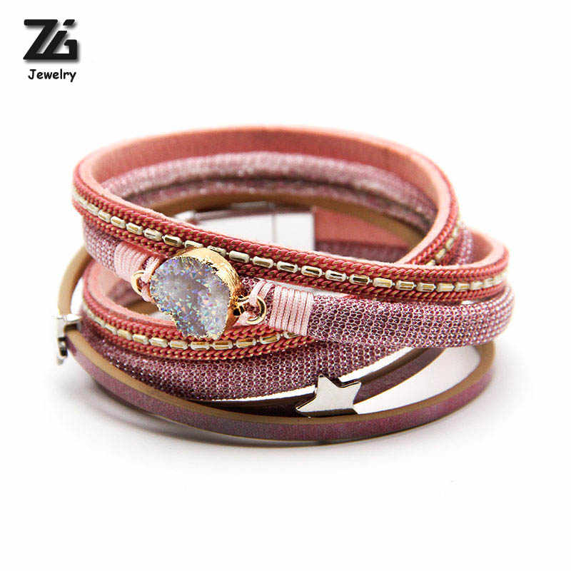 ZG Jewelry Bracelets for Women Multi-layer Leather Rope with quartz crystals Winding Bracelets Bangles Dropshipping