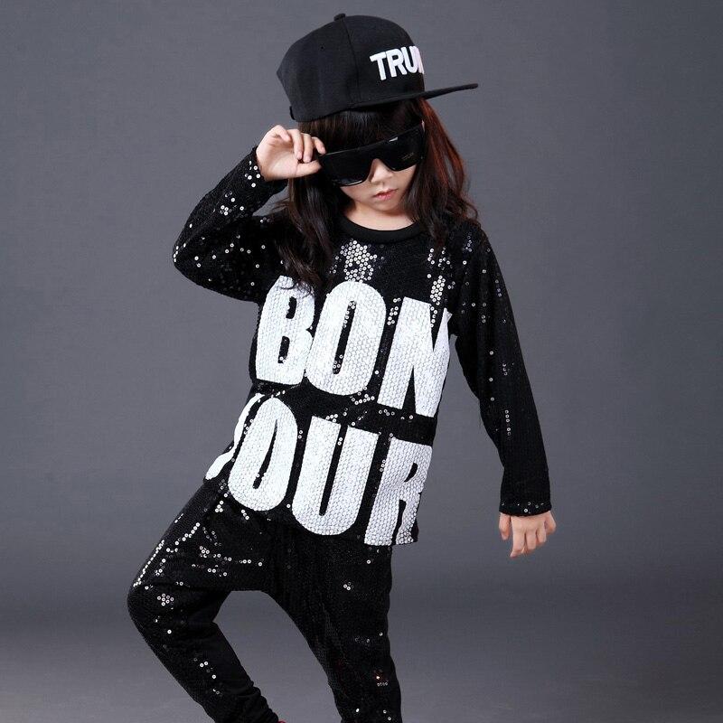 10stk / parti Lange ærmer Paljetter Børn Jazz Dance Kostumer Børn Drenge Piger Scene Show Konkurrence Hip Hop Tøj Hiphop Wear