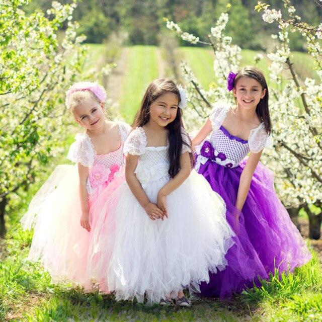 Blumenmädchen Kleid Weiß Tutu Kleid Ersten geburtstag Kommunion ...