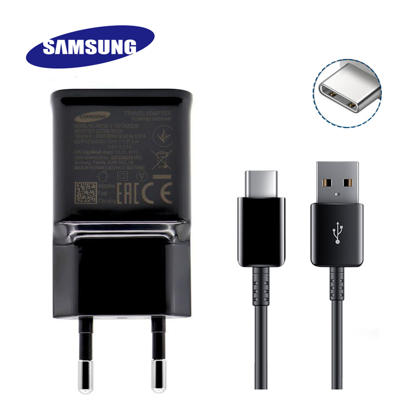Samsung S8 S8 Plus Fast Charger Original Adaptive Quick Travel Wall EU Adapter Charge 1.2M Type C Cable 9V1.67A&5V2A Charging