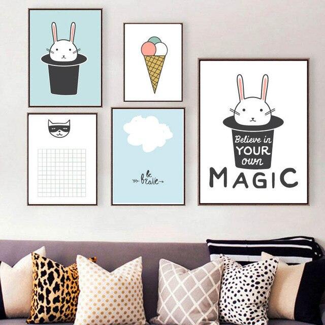 nordic moderne eenvoudige leuke magic item nijntje ijsje zomervakantie ontspannende poster voor kleuterschool slaapkamer