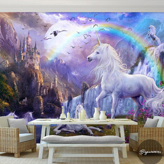 New 8D Large Mural Castle Rainbow White horse Wall Decoration 3d Horse Mural Wallpaper 3D Cartoon Wall Mural for Child Room 3d wallpaper red sky castle stream waterfall rainbow white horse children room background wall mural 3d wallpaper beibehang