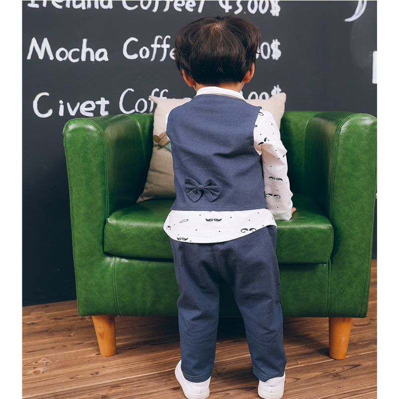 Spring Formal newborn baby boy clothes set outfit 1 year birthday party costume 3pcs suit for babies cloth kid boy clothing sets