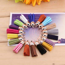 20pcs/lot Gold CCB Cap 30mm Suede Tassel Charm Mini Faux Suede Leather Tassels for Keychain Cellphone Straps DIY Jewelry Making(China)